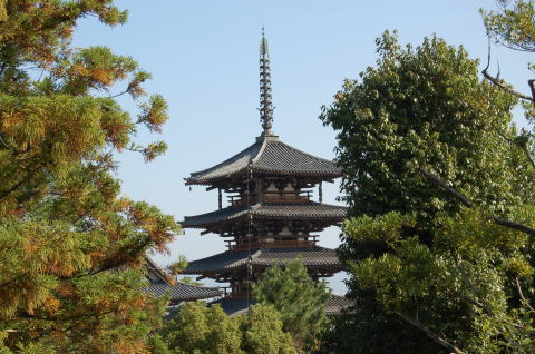 西円堂より五重塔を眺める
