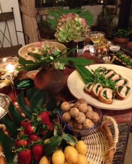 テーブル、フルーツ