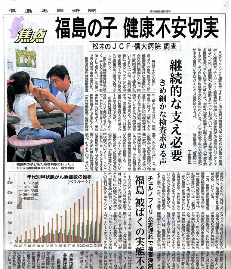 福島の子 健康不安切実 信濃毎日新聞 20111004