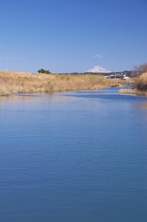 水面の向こうの富士