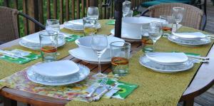 戸外でのテーブルコーディネート