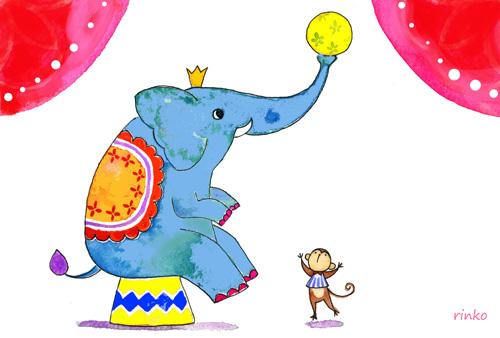 ゾウとサルの球遊び