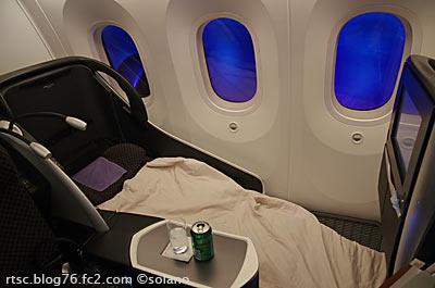 JAL、B787のビジネスクラス、シェルフラットネオ。