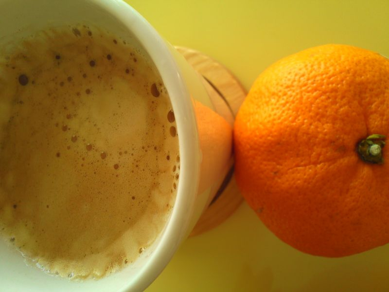 コーヒーとみかん