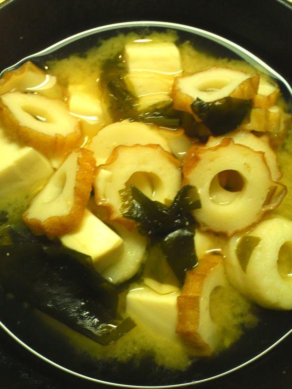 豆腐とちくわのお味噌汁