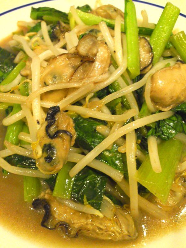 カキと小松菜ともやしの炒め物
