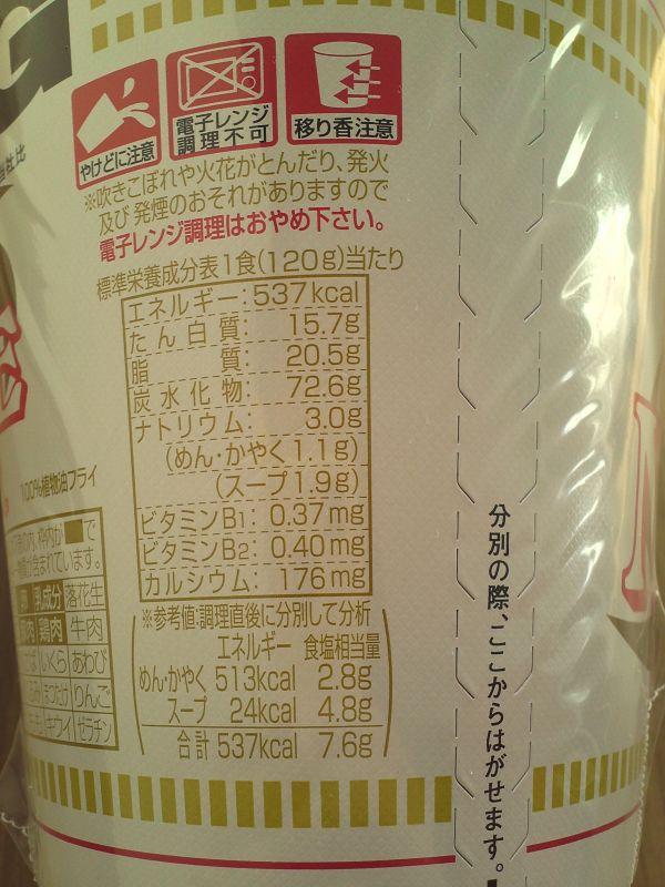 カップ麺(カロリー)