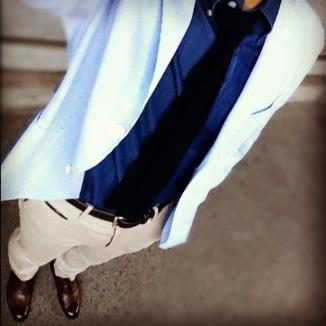 ブルーグラデーションのジャケットスタイル | Errico Formicola