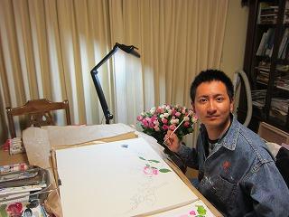 バラの絵を描く慶二郎