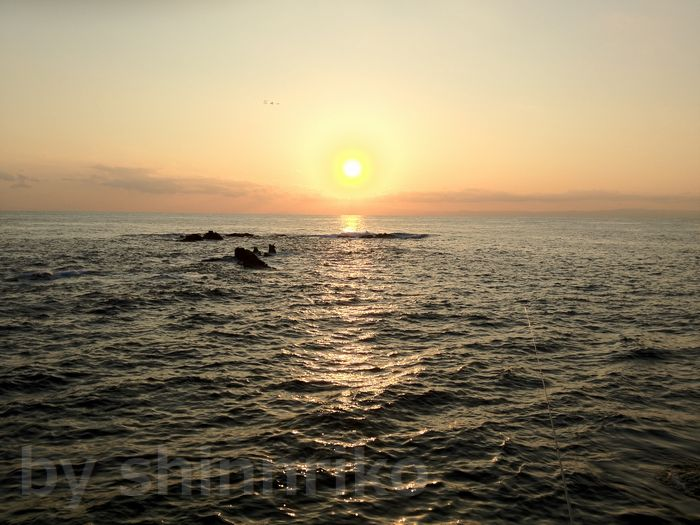 夕日が西の海に