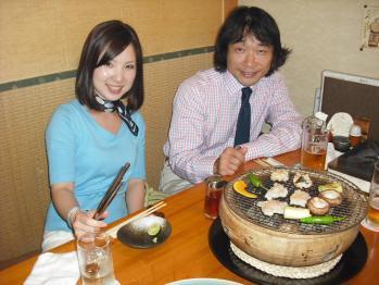 お客様と大阪の活ふぐ料理ふぐまるで初めて、鱧料理を食べました。
