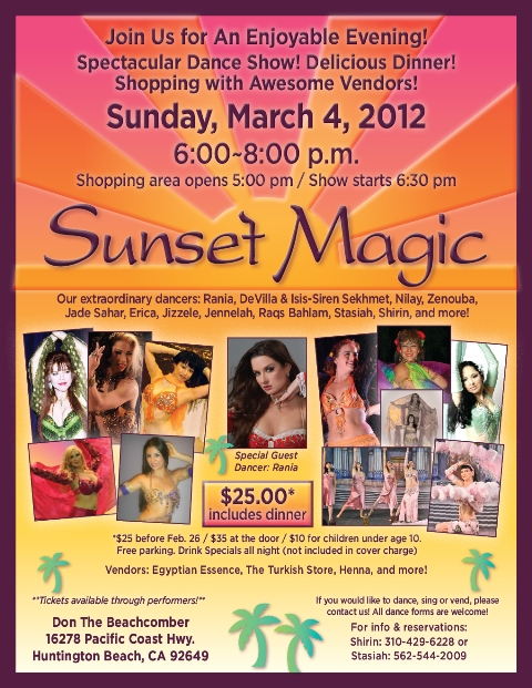 MARCH 4, Sunset Magic Dance Show !