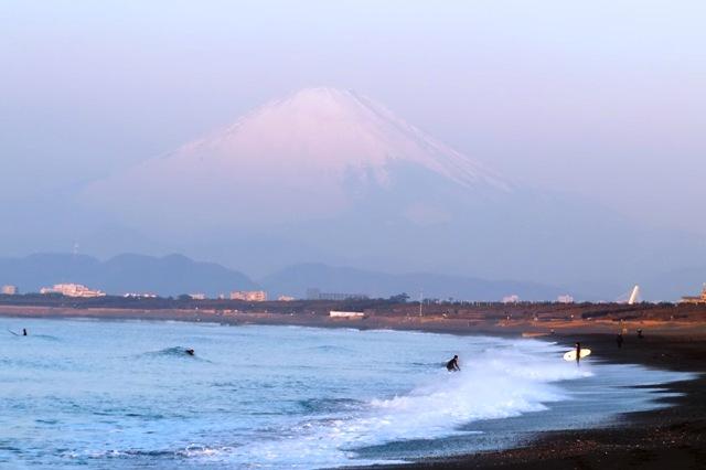 早朝のサーフィンをする人達
