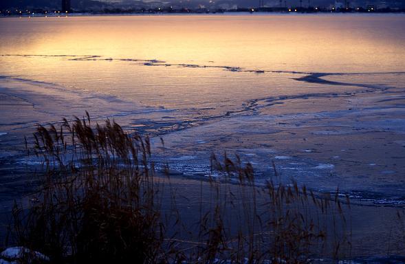 諏訪湖・・・厳冬-1