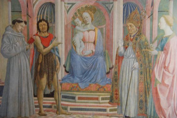 ヴェネツィアーノ・聖母子とフランチェスコ他・ウフィツィ