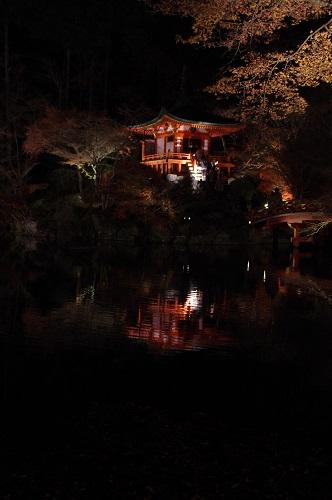 0923醍醐寺弁天池弁天堂ライトアップ