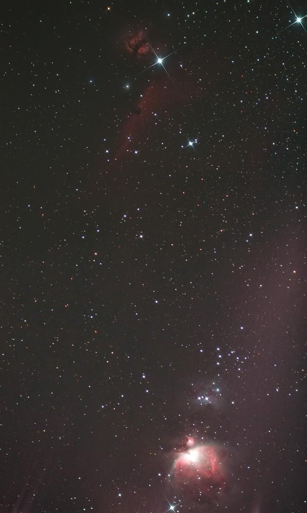 オリオン座三ツ星周辺の有名星雲(カブリ補正前)