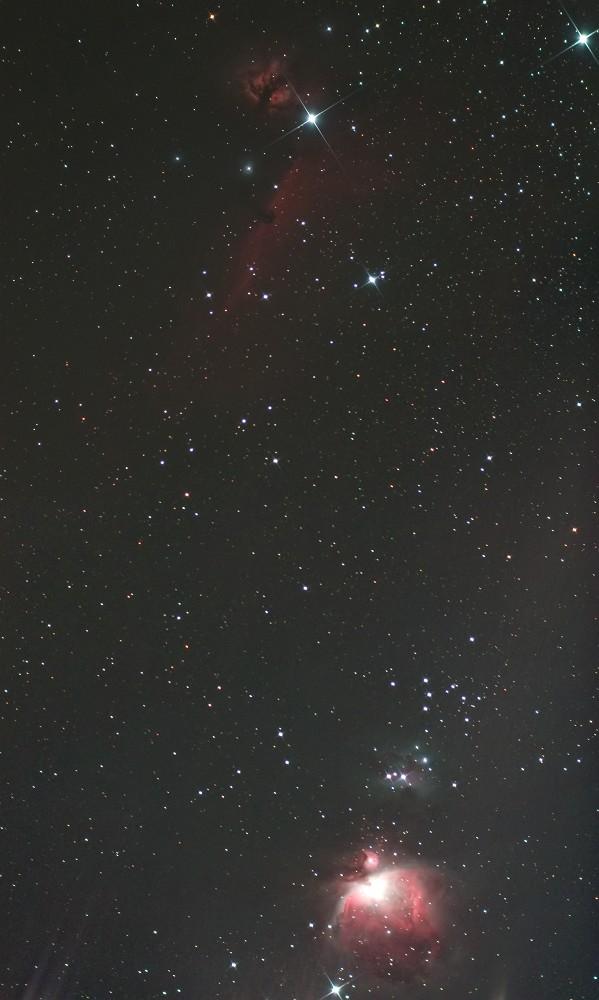 オリオン座三ツ星周辺の有名星雲(カブリ補正後)