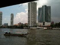 タイ バンコク チャオプラヤー川 桟橋写真