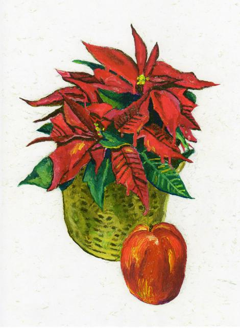 ポインセチアと林檎