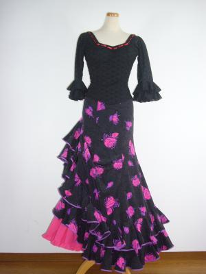 黒地ピンク花柄