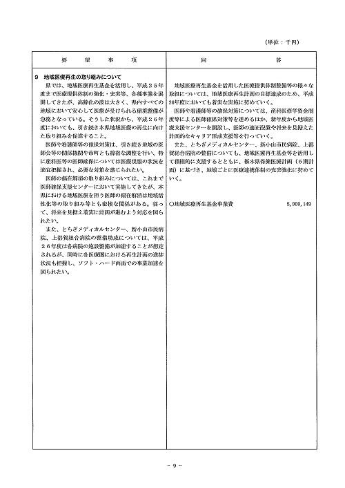 2014年度 栃木県当初予算編成・政策推進関連要望に対する回答書09