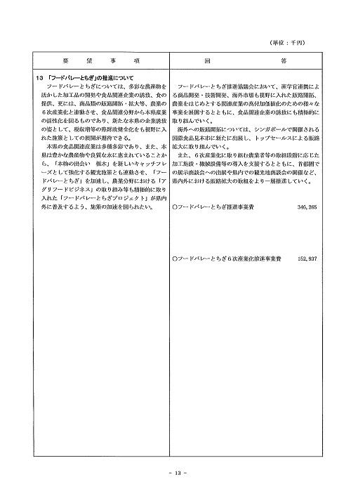 2014年度 栃木県当初予算編成・政策推進関連要望に対する回答書13