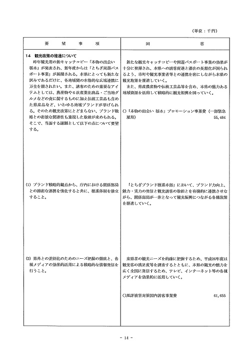 2014年度 栃木県当初予算編成・政策推進関連要望に対する回答書14