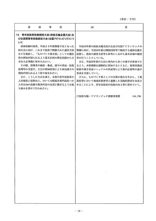 2014年度 栃木県当初予算編成・政策推進関連要望に対する回答書16