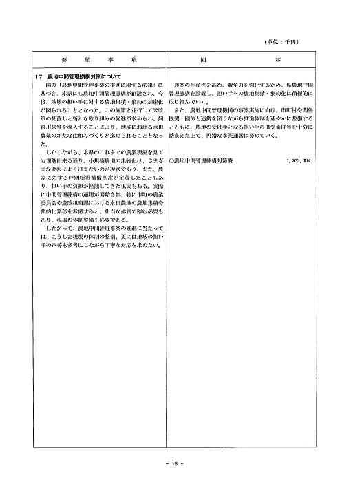 2014年度 栃木県当初予算編成・政策推進関連要望に対する回答書18