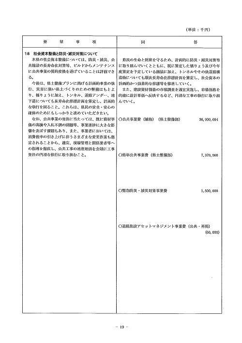 2014年度 栃木県当初予算編成・政策推進関連要望に対する回答書19