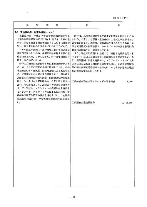 2014年度 栃木県当初予算編成・政策推進関連要望に対する回答書21