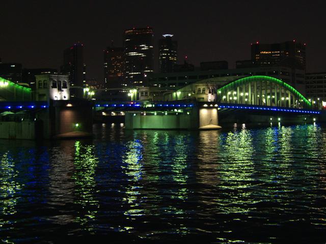 かちどき橋のライトアップ