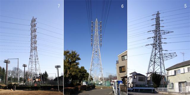 東大和線7、6、5号鉄塔