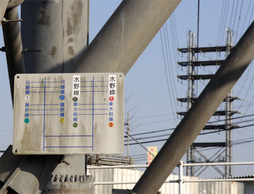 水野線2号鉄塔の送電線配置図