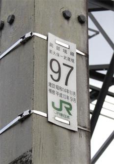 岡部境線97号鉄塔のプレート