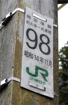 岡部境線98号鉄塔のプレート