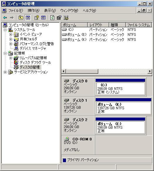 ディスク管理画面