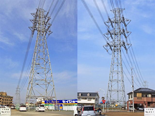 只見幹線452号鉄塔、451号鉄塔