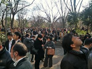 新宿中央公園に避難・・
