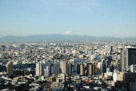 朝、富士山
