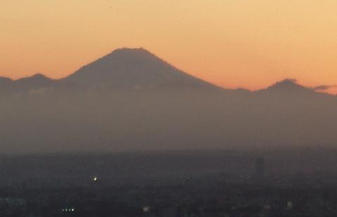 富士山と夕暮れ
