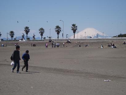 砂浜の向こうの富士山