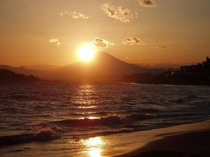 富士山と夕陽