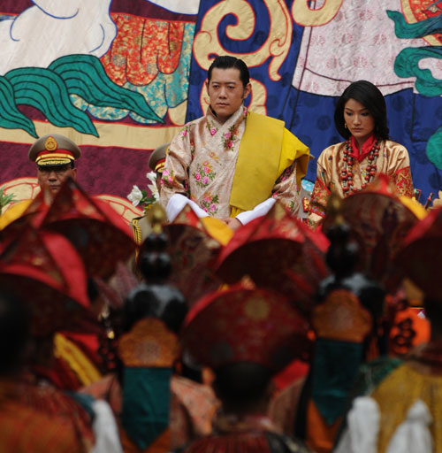 The royal couple attends the  purification ceremony performed by His Holiness the Je Khenpo