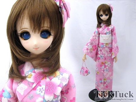 オビツ50(S・M・L胸) 桃色桜リボン 浴衣5点set