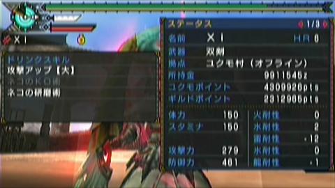 楽園×ガチ双剣(18分54秒)ステータス