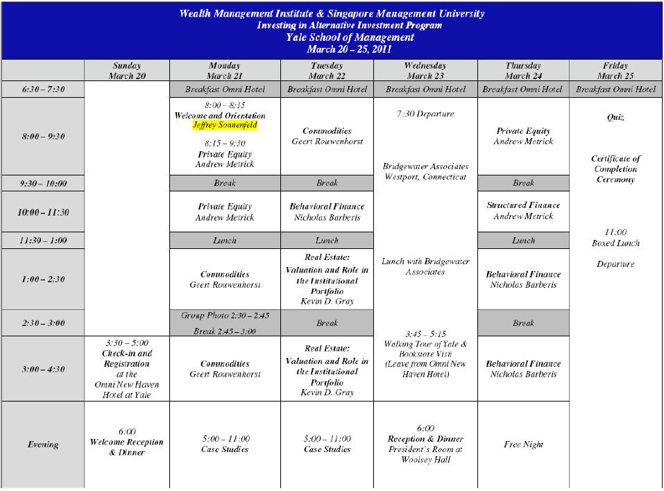 Class Schedule in Yale