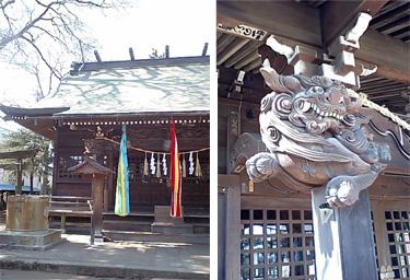 王子神社本殿と柱の狛犬