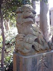 安房須神社の子連れ狛犬